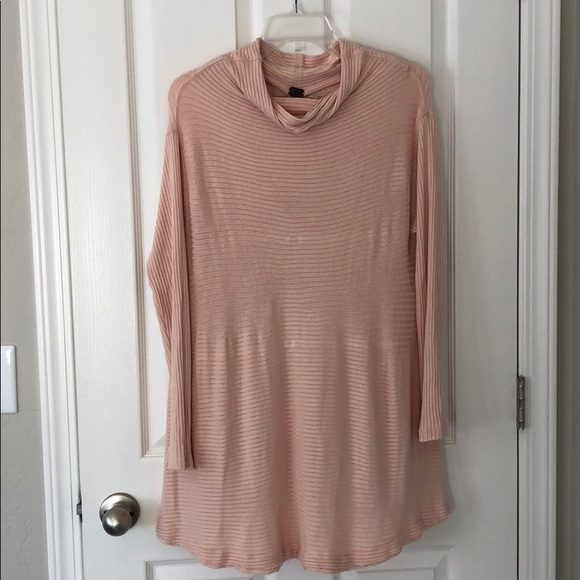 f0c9db1d394 Free People Sweaters - Free People pale pink mock neck tunic sweater sz L